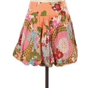 Tibi Orange Floral Bubble Hem Short Skirt 2